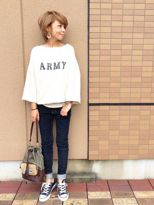 TODAYFULのスウェット「ARMY ドルマンスエット」を使ったAkikoNakamuraのコーディネートです。WEARはモデル・俳優・ショップスタッフなどの着こなしをチェックできるファッションコーディネートサイトです。