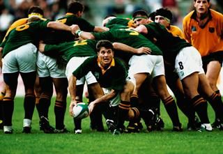 Joost Van Der Westhuizen passes out of the scrum during the Rugby World Cup match between Australia and South Africa on May 25, 1995 in Newlands, Cape Town, South Africa. South Africa won the match 27-18. (Gallo Images)