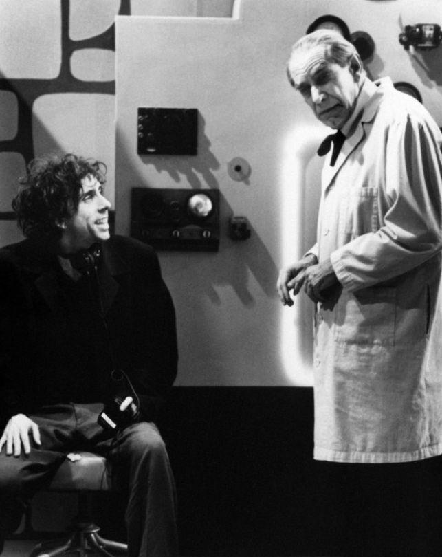 "Tim Burton and Martin Landau on set for ""Ed Wood""."