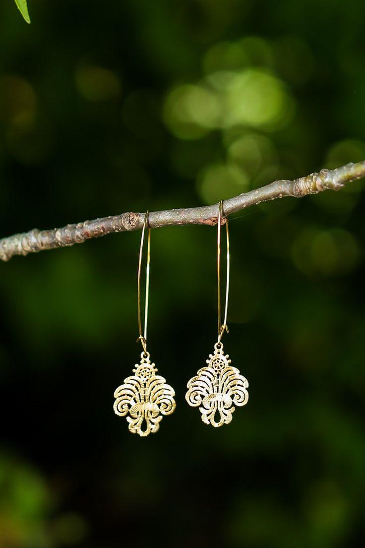 Shape Of Love Gold Pendant Earrings at reddressboutique.com