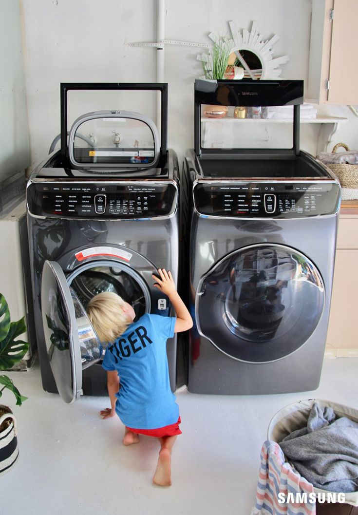 With Flexwash S Dual Washers Spend Less Time In The Laundry Room And More Time Tackling The 10 000 Ot Laundry Room Inspiration Samsung Washer Washer And Dryer