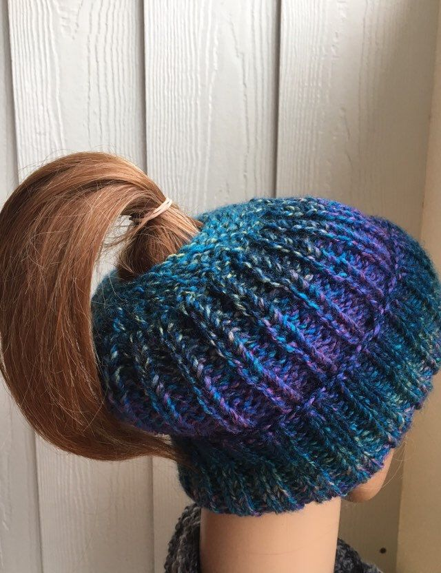 eadf85dd Excited to share this item from my #etsy shop: Teal and purple ponytail hat  for long hair, chunky messy bun hat, bad hair day beanie, ponytail toque,  ...