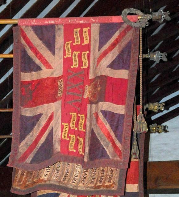 The 24th Regimental Standard lost at Isandlwana and recovered later in the war. It is on display in a church in Brecon, Wales.