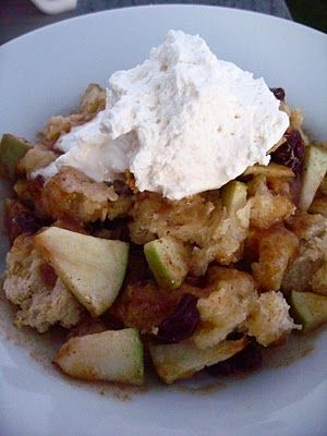 Apple Raisin Bread Pudding with Maple Caramel Sauce