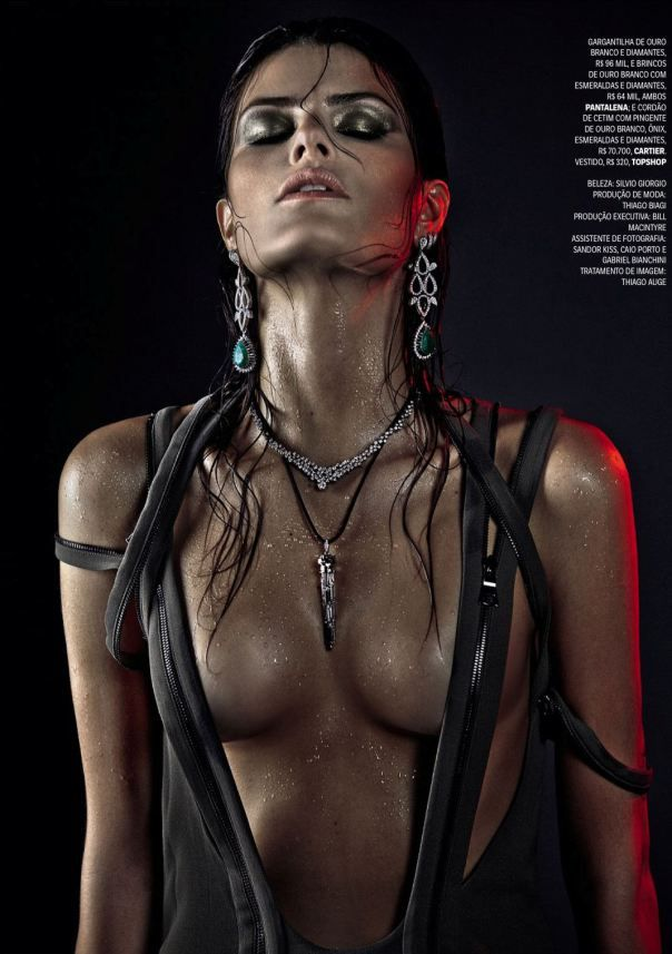 "Isabeli Fontana features in a military-inspired story for jewelry editorial called ""Guerra Preciosa"" in Vogue Brazil April 2013."