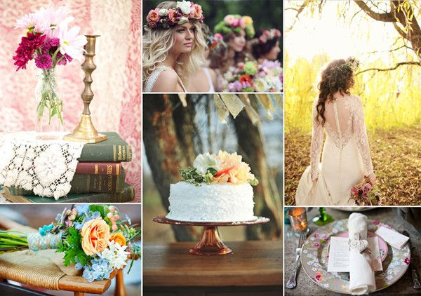 Decoración para una boda bohemia. Encuentra más inspiración en http://bodatotal.com/