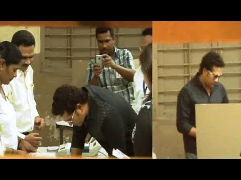 Sachin Tendulkar at polling booth casts his vote for Lok Sabha Elections 2014.