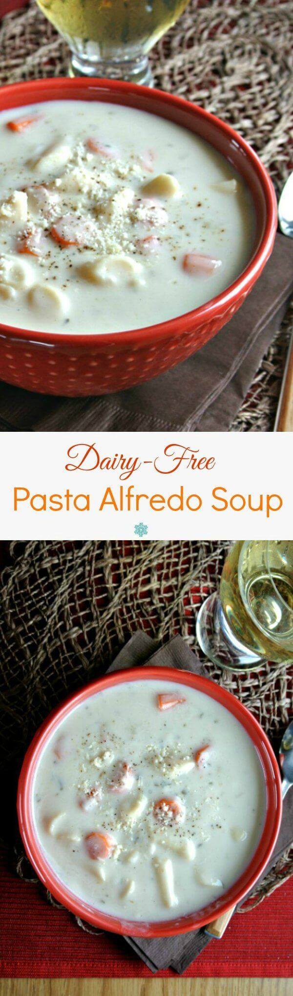 Dairy-Free Pasta Alfredo Soup has all the flavors of the famous pasta dish but it is completely dairy-free. Fast, easy and memorable. @lovemysilk #DoPlants