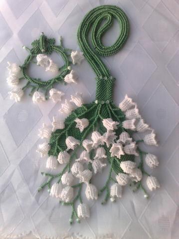 Lily of the valley bead work by Valentina Pomeschikovoy