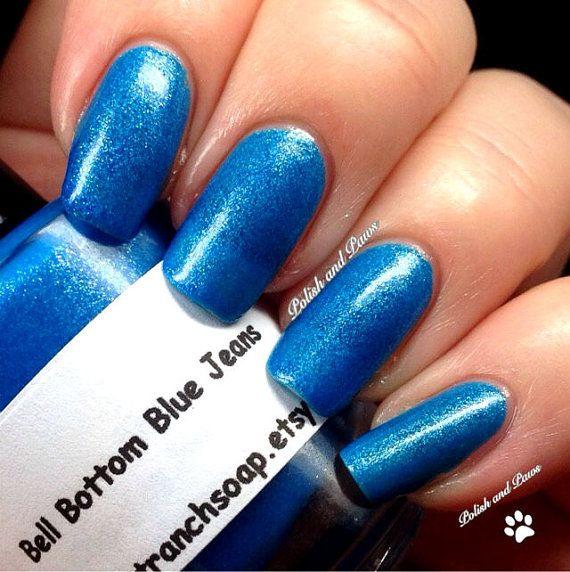 "Neon Blue Nail Polish - Fluorescent - ""Bell Bottom Blue Jeans"" - UV Reactive Nail Polish/Lacquer - Regular Full Sized Bottle (15 ml size)"