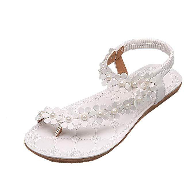 112028a98b9f Sandalen Damen Sommer Elegant Böhmen Blumen-Perlen Flip-Flop Schuhe Flache  Sandalen Schuhe Mode