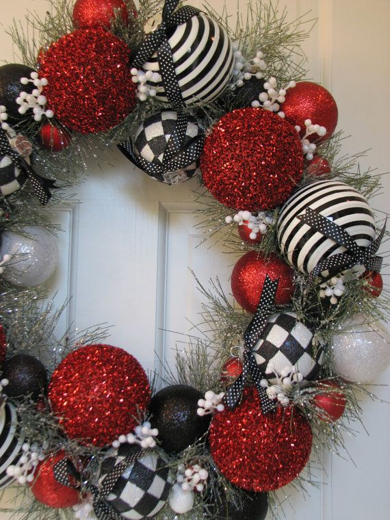 Large Black White and Red Heirloom Christmas Wreath, Ornament Wreath, Holiday Wreath, Evergreen Wreath, Black Wreath