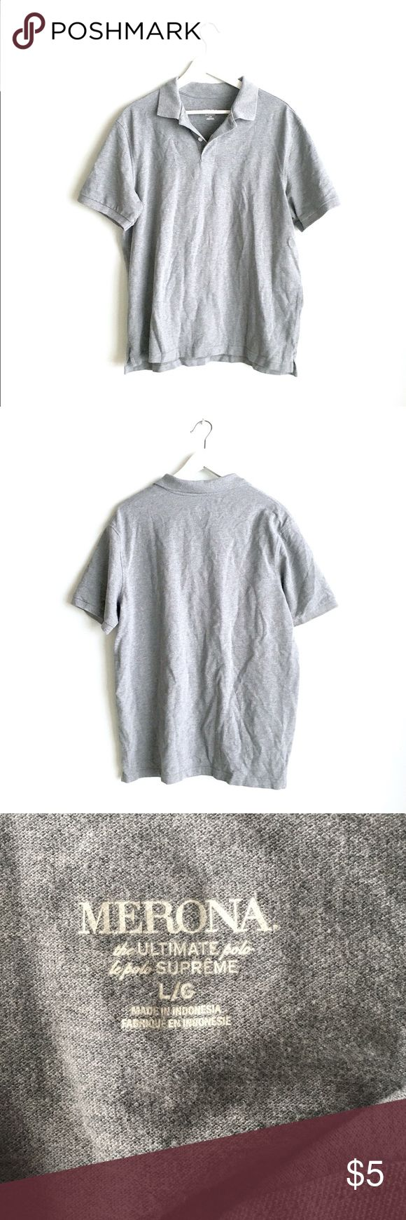🐋 Men's grey polo shirt Merona Men's grey polo shirt. Thick, comfortable cotton. Only worn once or twice. Fits size large in Men's. Merona Shirts Polos