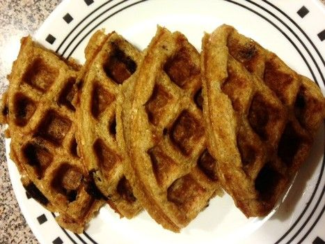 Healthy Chocolate Chip Banana Oatmeal Waffles recipe