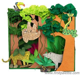 Rainforest Habitat Diorama craft - awesome 1st grade idea - used it this year