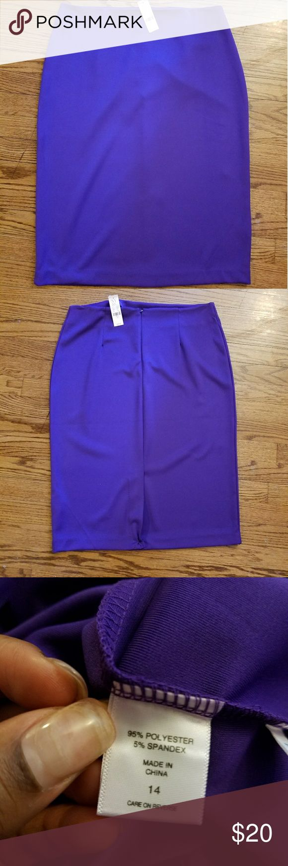 Purple Pencil Skirt Chic pencil skirt; the pull-on design adds a sense of ease.  OVERVIEW  Pull-on style.Back zipper with clasp.  FIT & SIZING  Pencil silhouette.Sits at waist.Center back length: 27 inches.  FABRIC & CARE  Shell: 95% Polyester, 5% Spandex.Lining: 100% PolyesterMachine Wash.Imported. New York & Company Skirts Pencil
