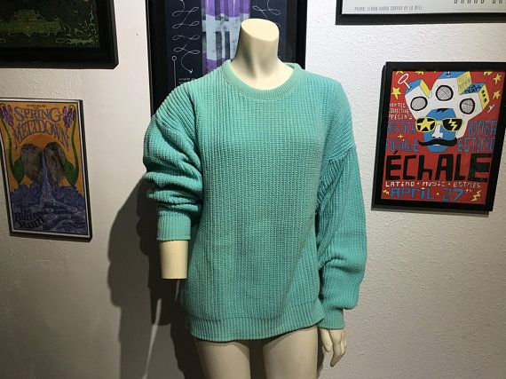 c1d5228fa4 Vtg Cyan Blue Green Knit Boyfriend Sweater   BASS SINCE 1876   Bright Color  Block Oversized