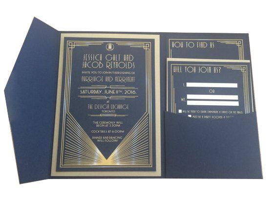 Art Deco Wedding Invitation Suite by pulpandponder on Etsy #artdeco #artdecoweddinginvitation #navyandgold #vintage  #navyweddinginvite #goldweddinginvite #pocketinvitation