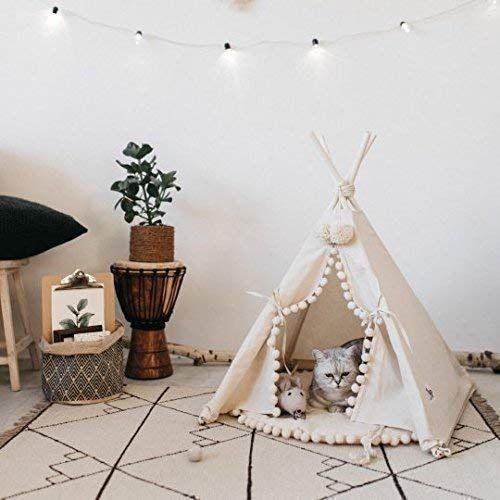 Original design Pet teepee Cat teepee Cat bed Dog bed Dog teepee with poles with double-sided mat 100% handmade