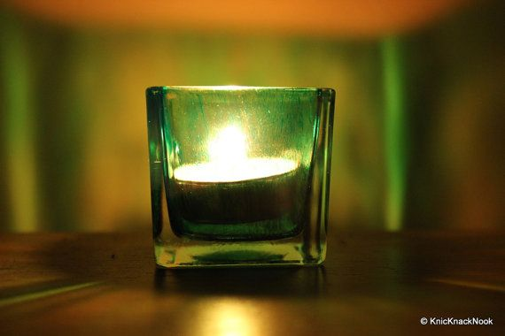 Green hand tinted Votive Holder by KnicKnackNook on Etsy, $6.00