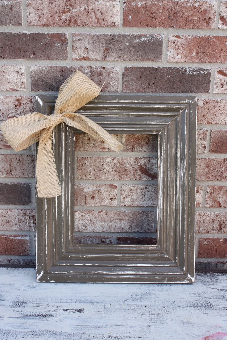 8x10 Distressed Frame with Burlap Bow Accent. $26.00, via Etsy.