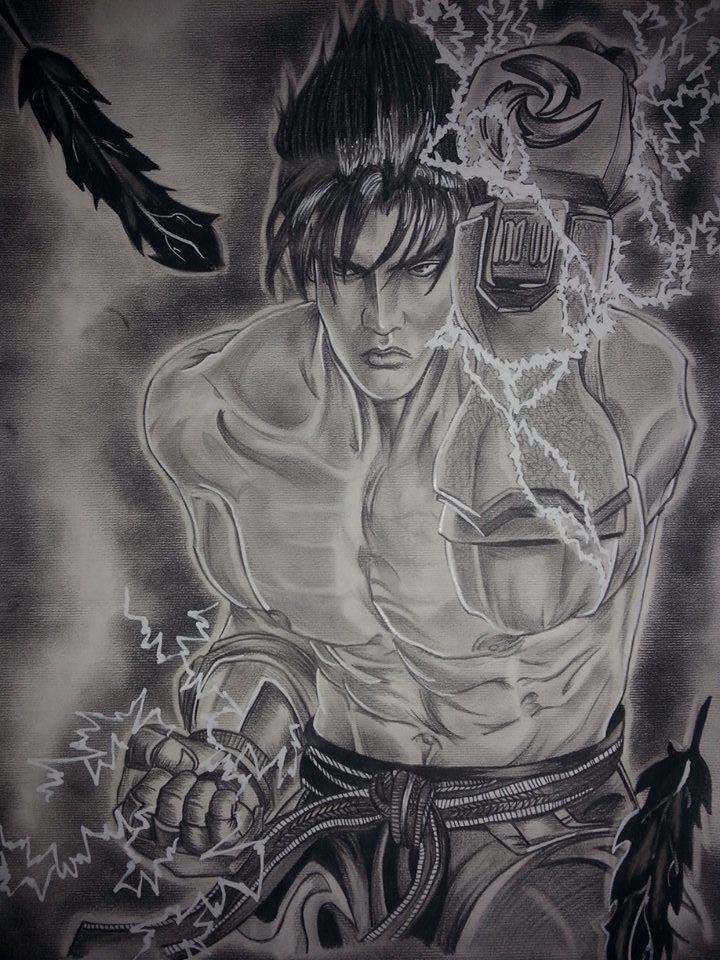 Jin Kazama,F4 Fabriano ruvido solo carboncino grasso