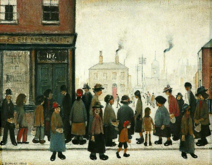 Waiting for the Shop to Open, United Kingdom, 1943, by L. S. Lowry.