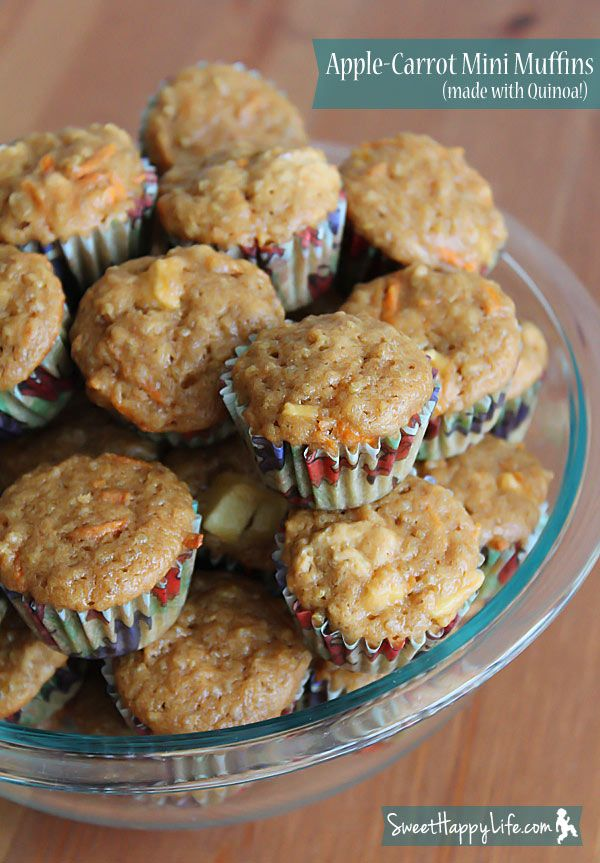 Apple-Carrot Mini Muffins.  These are made with Quinoa and look sweet and delicious!