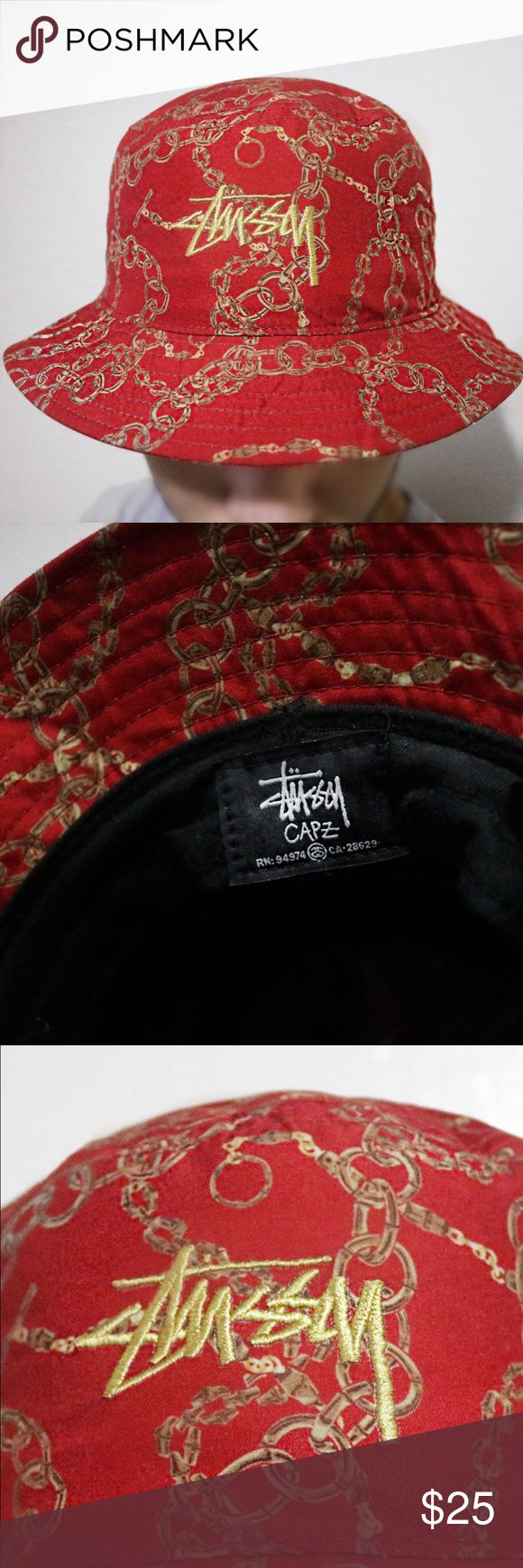 Red Goldlink Stussy Bucket Hat Only worn once! Great condition. Stussy Accessories Hats