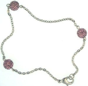 """9"""" Anklet with 3 Lilac Purple Cz Pave Crystal Balls and Stainless Steel Hammered Cable Chain. Lobster Lock Closure Pavel Steel. $14.99. 9"""" Stainless Steel Hammered Cable Chain Anklet. Lobster Lock Closure. 3  8mm Lilac Purple Crystal Pave Balls. Gift Box Included. Save 63%!"""