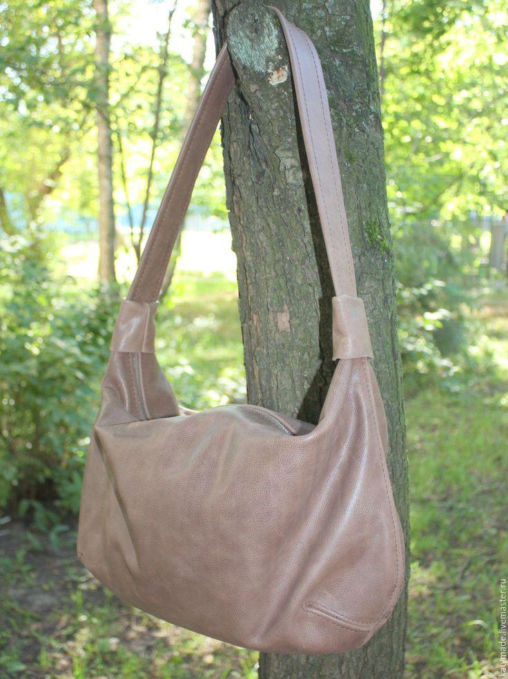 """Купить """"Крем-брюле"""" сумка-хобо на каждый день - женская сумка, из натуральной кожи, на плечо"""