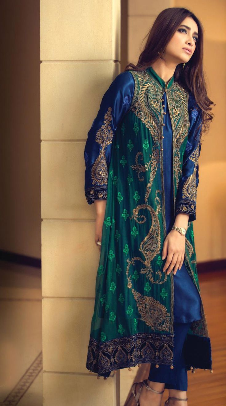 Buy NavyBlue/Dark Green Embroidered Chinese Chiffon Gown Style Dress by Maria B. Chiffon Collection 2015.