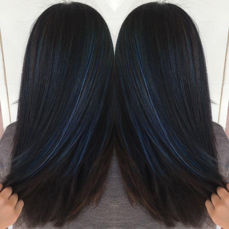 Cobalt Blue Lowlights Hairbyjaimeet Canyonhillssalon Ocstylist Hairhighlights Blue Hair Highlights Hair Highlights And Lowlights Hair Tint