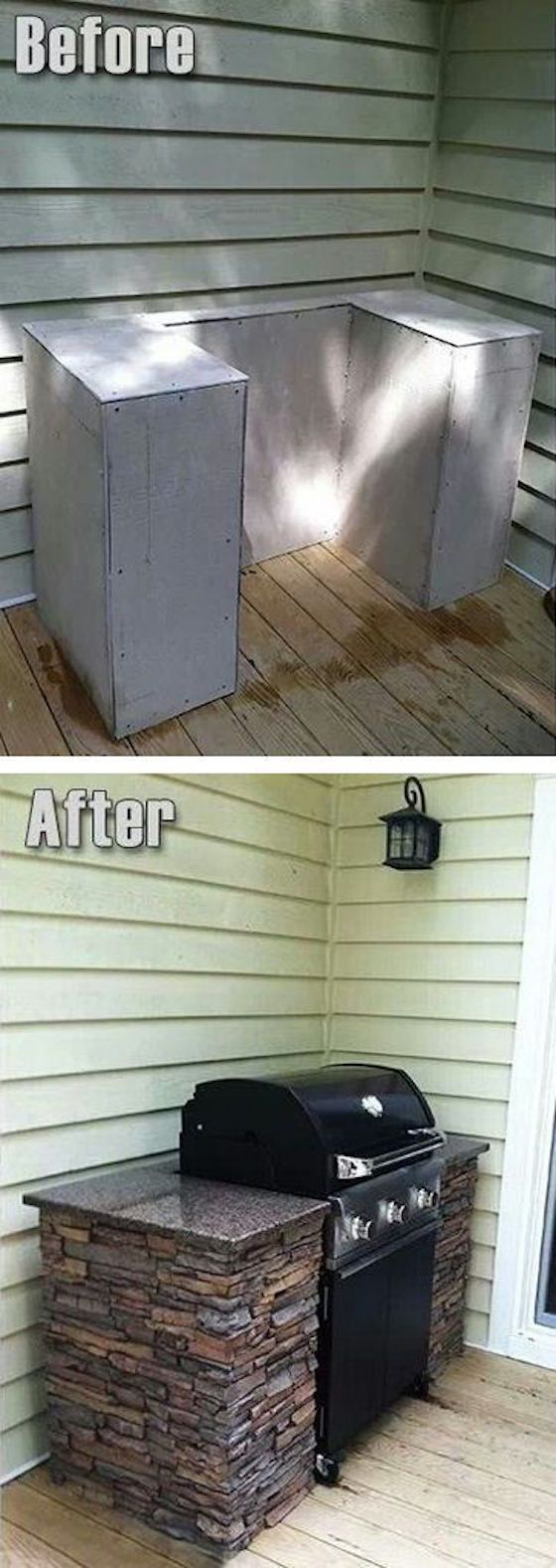 Give your deck an upgraded look with this built in grill.