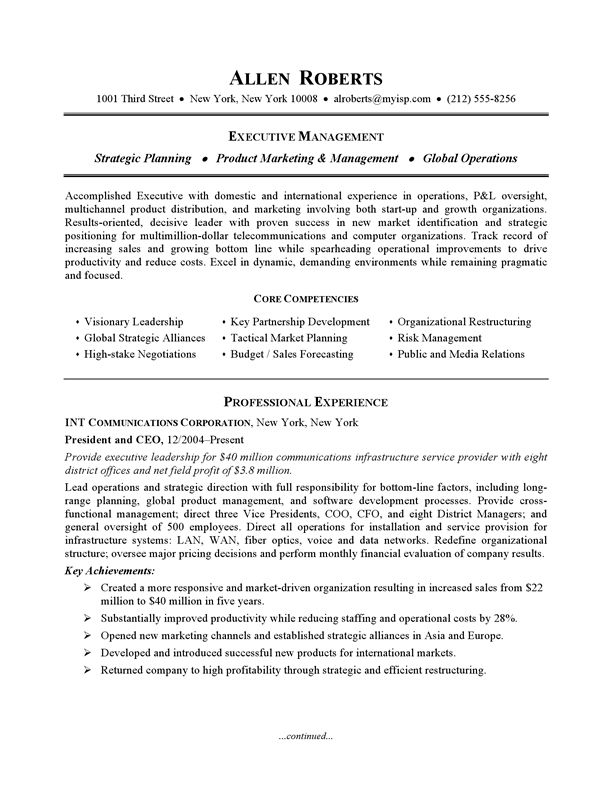 Resume Example - Executive or CEO CareerPerfect Resume