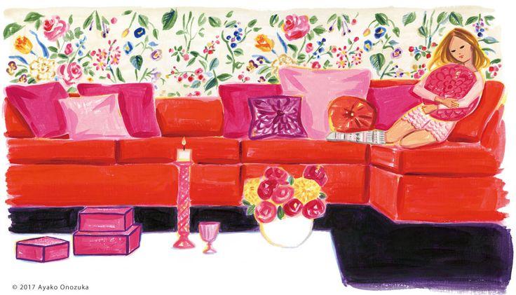 ayako onozuka #illustration #Fashion #Liquitex #イラストレーション #女性 #Woman #小野塚綾子 #Acrylic paint #リキテックス #interior #インテリア #sofa
