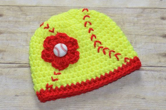 Crochet Softball Beanie Hat for Girls You Pick the Size via Etsy