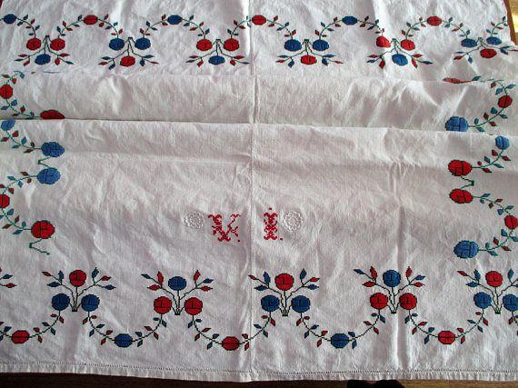 281.Homespun flax linen tablecloth/vintage hand embroidered