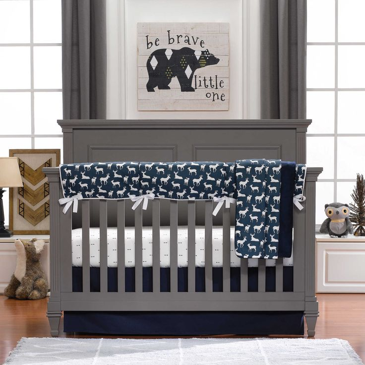 Create a modern yet rustic nursery with Liz and Roo s Woodland Crib  Bedding  This Crib Bedding Set features arrows and deer  in classic neutral  navy and. 17 Best images about Nursery Decorating Ideas on Pinterest