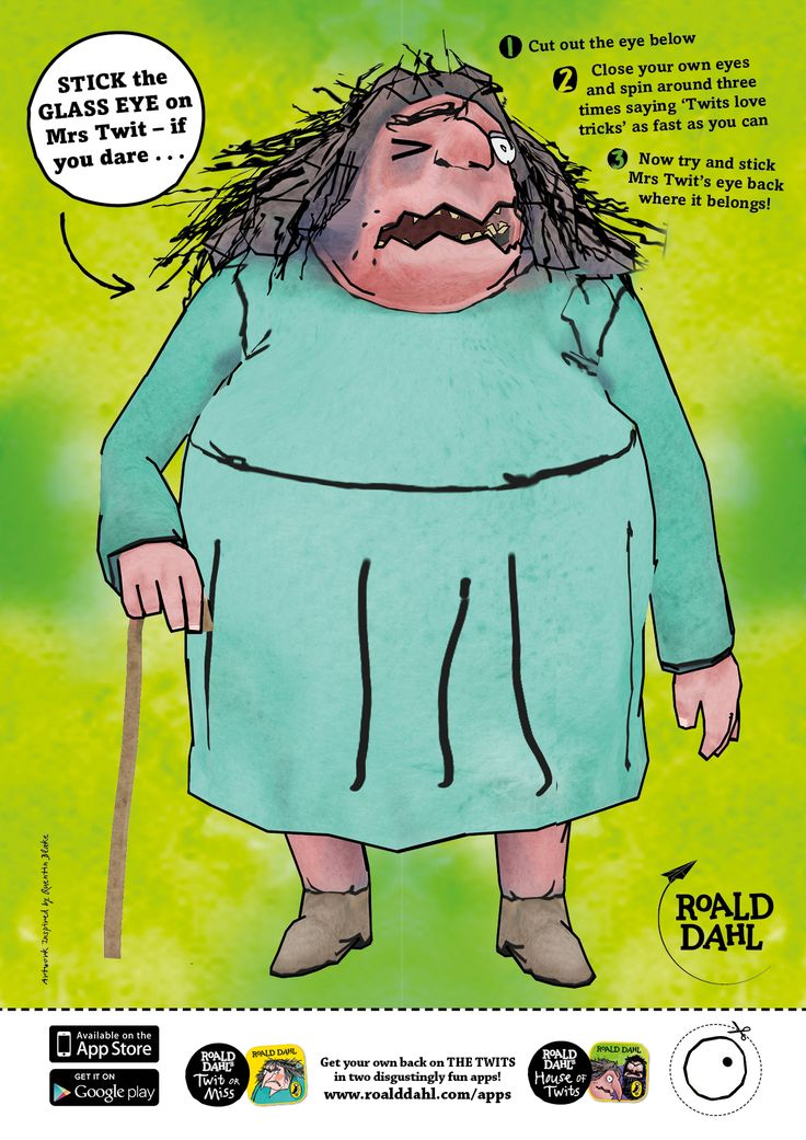 Stick the glass eye on Mrs Twit.. if you dare! A ghastly game for Halloween parties! #TheTwits #RoaldDahl #Halloween