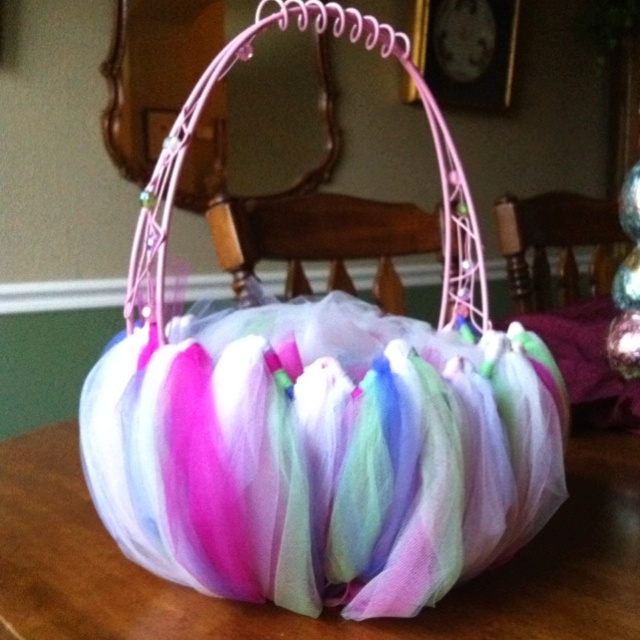 Wire basket with tulle....Easter basket.
