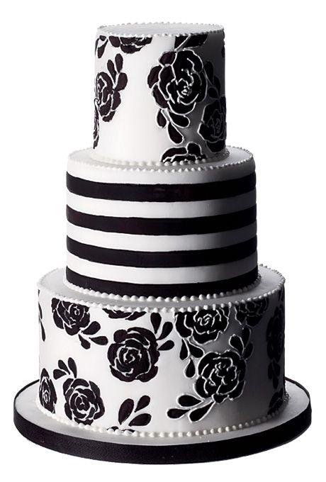 Striped Black And White Wedding Cake