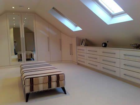 A picture of a loft conversion (attic conversion) to create a walk in wardrobe / dressing room.