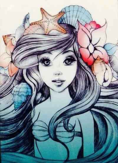 I love how the artist has decided to only colour the shells and starfish in the mermaids hair More