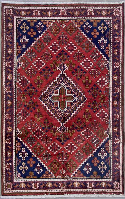 RED BLUE PERSIAN JOSHAGHAN ORIENTAL HAND KNOTTED WOOL AREA RUG CARPET