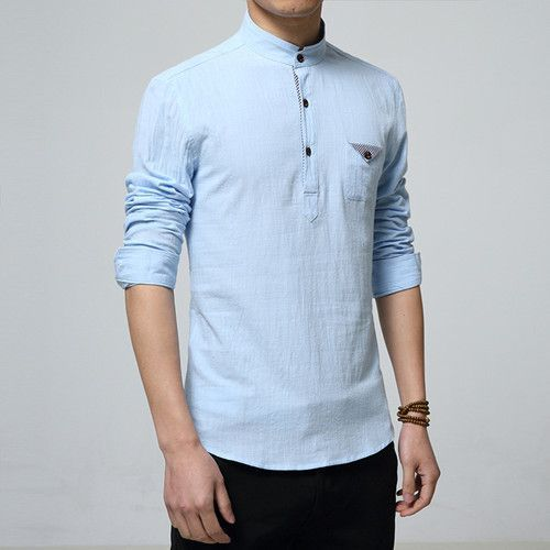 Item Type: Shirts Gender: Men Pattern Type: Solid Sleeve Style: Regular Style: Casual Shirts Closure Type: Single Breasted Fabric Type: Broadcloth Material: Cotton,Linen Collar: Mandarin Collar Sleeve