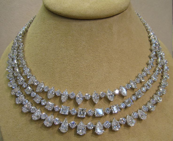 78.73ct 3 Row Diamond Platinum Necklace: Up for sale is a beautiful 3 row mixed shape diamond platinum necklace. This beautiful necklace is set with 78.73 carats of fine diamonds. All of the diamonds are G-H+ color and VS+ clarity. This necklace was hand made in in platinum 950.