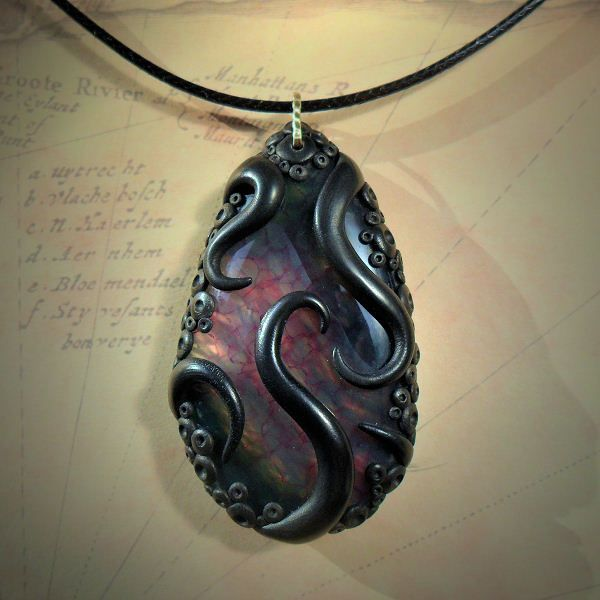 nice Tentacled Stormy Agate Necklace - Buy Cthulhu Mythos gothic jewelry online at Ct...