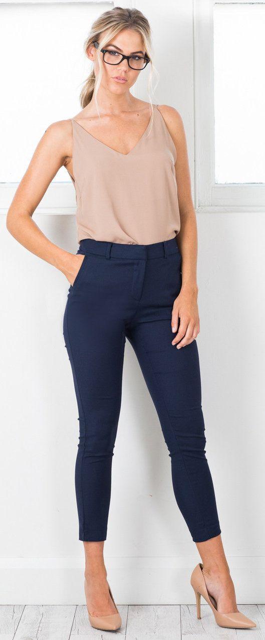 summer outfits Beige Tank + Navy Skinny Pants