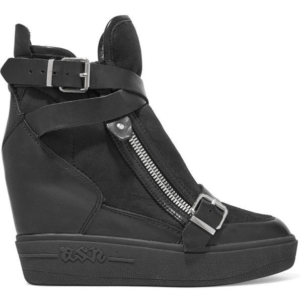 ASH Aroma buckled leather and suede wedge sneakers ($205) ❤ liked on Polyvore featuring shoes, sneakers, black, wedge sneakers, platform sneakers, hidden wedge sneakers, black sneakers and black platform shoes